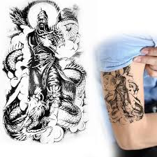 China Ancient Hero Fly Dragon Guan Gong Yu Warrior God Statue Temporary Tattoo Arm Wrist