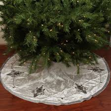 56 Elegant Cream And Charcoal Gray Beaded Sequin Velveteen Christmas Tree Skirt