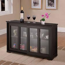 Storage Sideboard Home Kitchen Cupboard Buffet Cabinet With Sliding Door Window