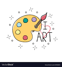 Palette With Paint Brush Hand Drawn Outline Doodle Vector Image
