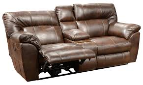 Luxury Leather Reclining Loveseat With Center Console 54 For Your