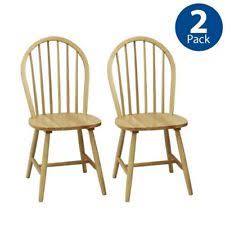 Windsor Chair Set Of 2 Solid Wood Dining Room Furniture Kitchen Chairs Natural