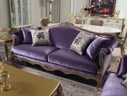 casa padrino luxus barock wohnzimmer sofa lila gold silber 220 x 83 x h 105 cm edles massivholz sofa mit dekorativen kissen wohnzimmer möbel