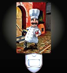 Fat Chef Bistro Kitchen Curtains by Italian Chef With Wine Decorative Night Light Amazon Com