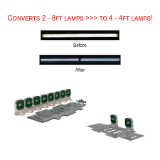 Requires Non Shunted Lamp Holders Tombstones by Led T8 Retrofit Kit Converts 2 8ft Fluorescent Tubes Into 4 4ft