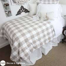 Tan Gingham Check Plaid Designer Dorm Duvet Cover