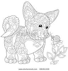Kawaii Corgi Coloring Sheet Stock Images Royalty Free Vectors On Pusheen Book The Cat