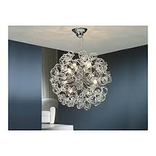 Schuller Spain 542013I4L Modern Art Deco Chrome Hanging Ceiling Light Pendant Alabaster 8 Dining