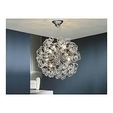 Schuller Spain 542013I4L Modern Art Deco Chrome Hanging Ceiling Light Pendant Alabaster 8 Dining