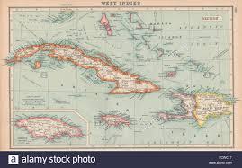 WEST INDIES Cuba Jamaica Bahamas Hispaniola BARTHOLOMEW 1924 Vintage Map