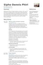 Wellness Coach And Project Assistant Resume Example