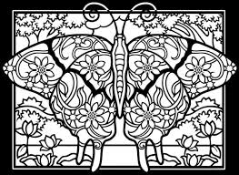 Free Coloring Page Adult Difficult Butterflies Black Background