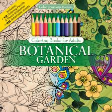 Amazon Botanical Garden Adult Coloring Book Set With 24 Colored Pencils And Pencil Sharpener Included Color Your Way To Calm 9781988137261