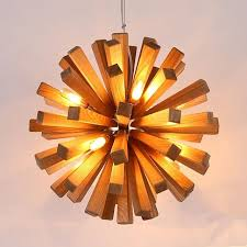 Led Firework Explosion Wood Pendant Light Fixtures Rustic Lighting For Restaurant Loft American Country Style Design