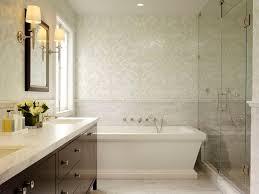 mosaic tiles damask walls tub white carrara marble subway interior