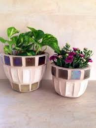 Mosaic Flower Pot Outdoor Planter Indoor Plant Storage Garden Art Rustic Handmade Small Pots