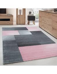 teppich modern designer kurzflor wohnzimmer karo block muster grau pink weiß