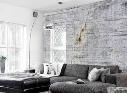 Living Room Design With Concrete Wallpaper