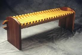 Custom Wood Furniture Pine And Cherry Bench With Curved Seat By Design