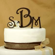 Wedding Cake Topper Monogram Initials Cool Inspiration 12 Color