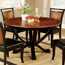 Furniture Of America Lyda Transitional Black Acacia Round Pedestal Dining  Table - Oak