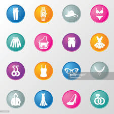 ladies shopping circle color icons vector art getty images