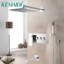 kemaidi chrome fertige badezimmer dusche armaturen niederschläge 3 möglichkeiten schwarz dusche wasserhahn set wasser separator winkel top ventil