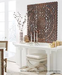 White Washed Carved Wood Wall Art Panel Floral Hanging Decorative Unique Oriental Home Decor From Thailand 3X3 Ft
