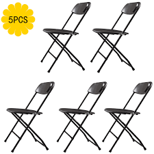 Jaxpety Set Of 5 Commercial Plastic Folding Chairs Stackable Wedding Party  Event Chair, Black