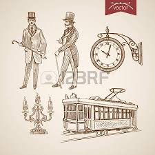 Engraving Vintage Hand Drawn Doodle Collage Pencil Sketch Chandelier Tram Clock Gentleman Illustration