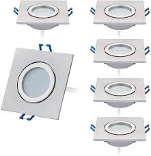 6er set led einbaustrahler 5w dimmbar flach eckig ip44 badezimmer 230v spot außen warmweiß 3000k
