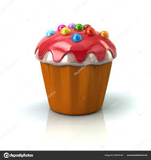 Cupcake Muffin Red Cream Illustration White Background Stock Photo