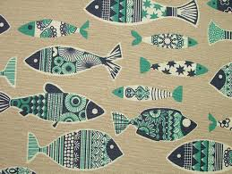 Fabric For Curtains Uk by 1 Metre Blue Scandinavian Fish Natural Linen Look Curtain