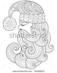 Vector Christmas Illustration Zentangle Santa Claus For Adult Antistress Coloring Pages Hand Drawn