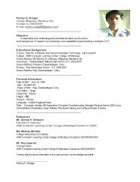 Personal Background Sample Resume