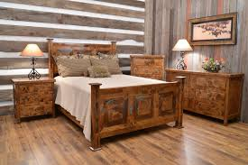 Awesome Bedroom Furniture Set In Rustic Style Made From Teak Wood