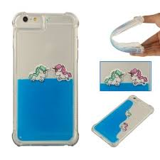 For IPhone 6 Plus Cartoon Unicorn Horse Water Liquid Transparent Case 6S Soft