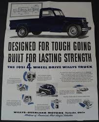 100 Willys Truck Parts 1951 4 Wheel Drive Brochure Hurricane Engine Jeep