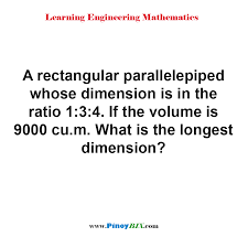 100 Rectangular Parallelepiped Solution What Is The Longest Dimension Of Parallelepiped Whose