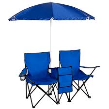 BestChoiceProducts: Best Choice Products Portable Folding Double-Chair For  Beach, Camping, Picnic W/ Removable Umbrella, Table Cooler - Blue | ...