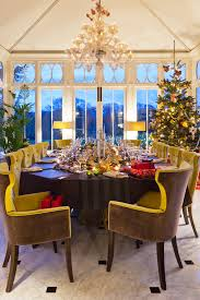 Christmas Holiday Tablescape Ideas Tree Conservatory Dining Room Easy Striped Table Runner Decor