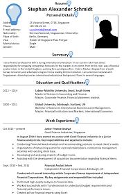 Singapore CV Sample