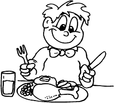 Impressive Eating Dinner Coloring Page With Thanksgiving And Pages For Toddlers