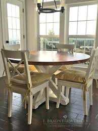 Round Farmhouse Table And Chairs White Brown Dining