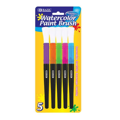 Bazic Jumbo Watercolor Paint Brush Set - Pack of 5
