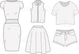 Womens Clothing Set Sketch Clothes Hand Drawing Doodle Style Royalty