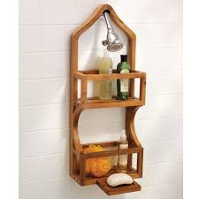 Teak Bath Caddy Canada by The Genuine Teak Shower Organizer Hammacher Schlemmer