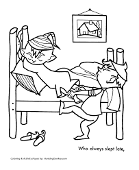 Elves Pulled Him Out Of Bed Coloring Sheet