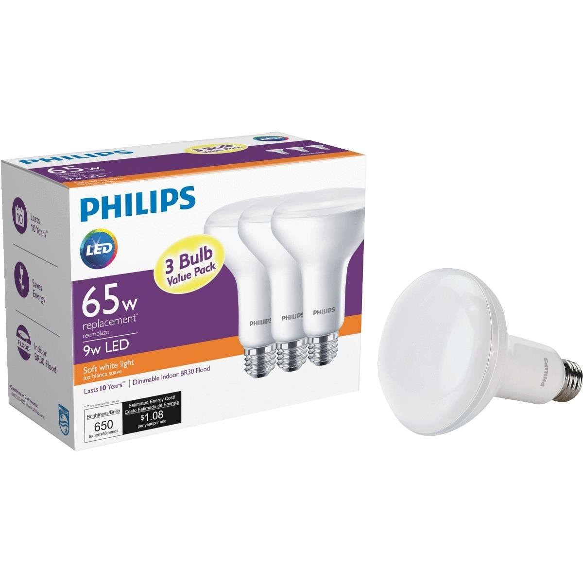 Philips Lighting BR30 Dimmable LED Floodlight Light Bulb - Soft White, 3 Pack