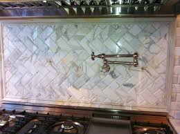 Carrara Marble Tile Backsplash by Carrara Marble Herringbone Backsplash Kitchen Kitchen Marble Tile